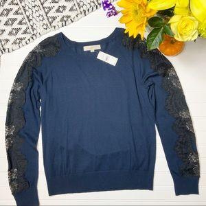 LOFT Dark Blue Long Sleeve Lace Crew Neck Sweater